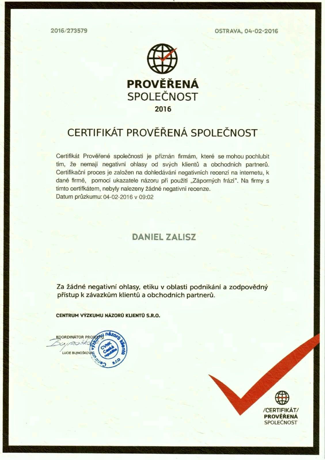 certifikat_daniel_zalisz_new-therm_trinec